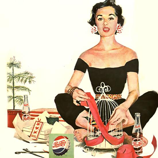 Detail Of Pepsi-Cola Yoga Girl Pepsi 1954 | Best of Vintage Ad Art 1891-1970