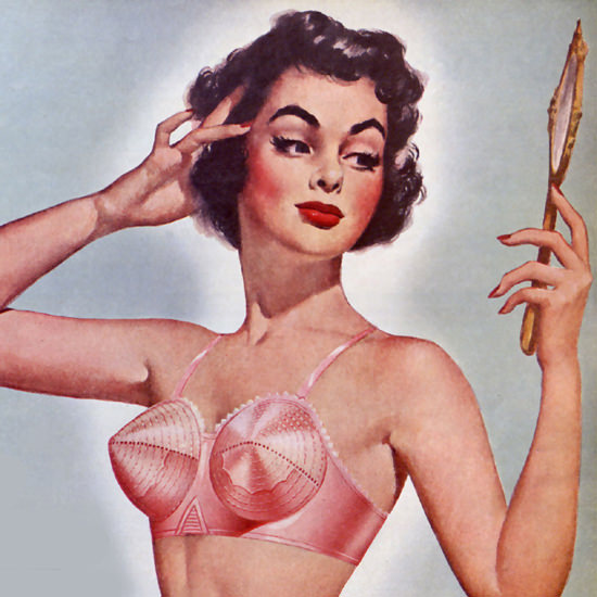 Detail Of Perma Lift Bra Stitched Cup Lingerie 1951 | Best of Vintage Ad Art 1891-1970