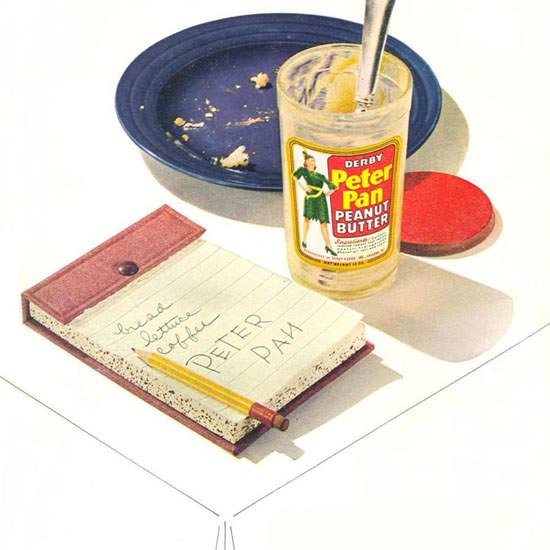 Detail Of Peter Pan Peanut Butter Table 1947 | Best of 1940s Ad and Cover Art