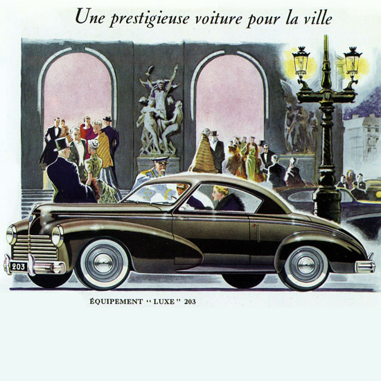 Detail Of Peugeot 203 Luxe Coupe 1952 Prestige Voiture | Best of Vintage Ad Art 1891-1970