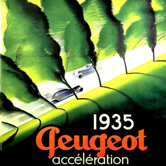 Detail Of Peugeot Alley 1935 | Best of Vintage Ad Art 1891-1970
