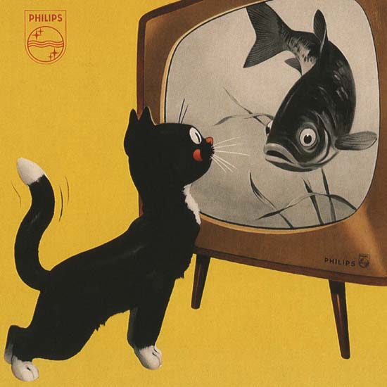 Detail Of Philips Netherlands Cat And TV Fish | Best of Vintage Ad Art 1891-1970