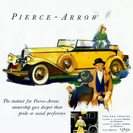 Detail Of Pierce Twelve Arrow Convertible Sedan 1932 | Best of Vintage Ad Art 1891-1970