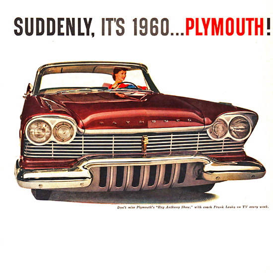 Detail Of Plymouth 1960 Ray Anthony Show Frank Leahy | Best of 1960s Ad and Cover Art