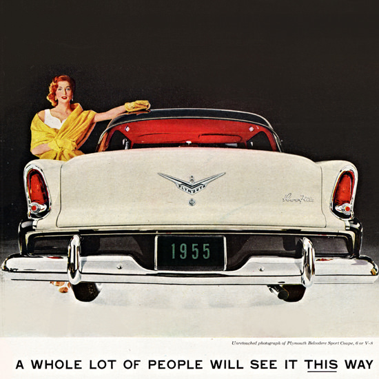 Detail Of Plymouth Belvedere Sport 1955 Lady This Way | Best of Vintage Ad Art 1891-1970