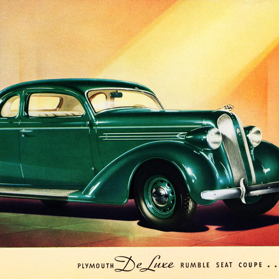 Detail Of Plymouth De Luxe Rumble Seat Coupe 1936 | Best of Vintage Ad Art 1891-1970