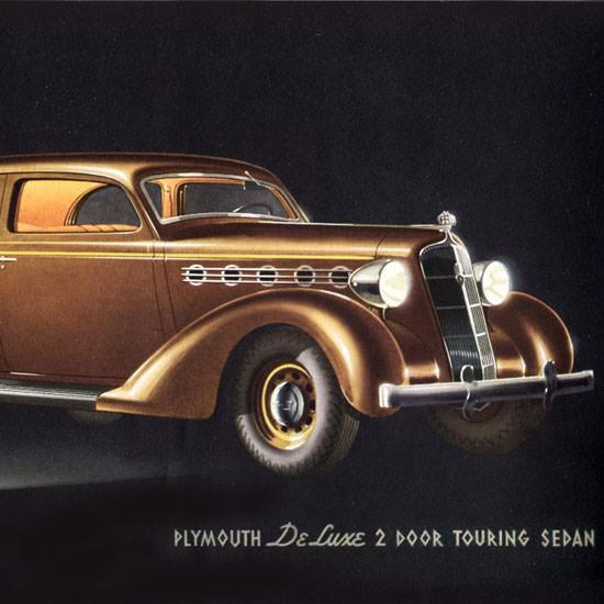 Detail Of Plymouth DeLuxe 2 Door Touring Sedan 1935 | Best of Vintage Ad Art 1891-1970