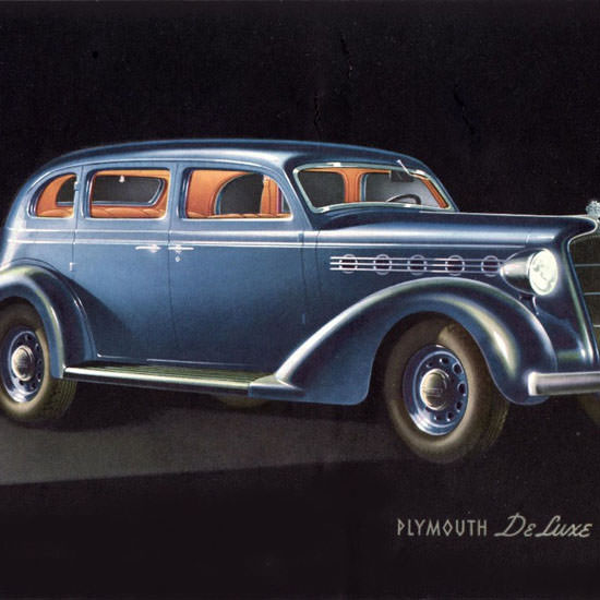 Detail Of Plymouth DeLuxe 4 Door Sedan 1935 | Best of Vintage Ad Art 1891-1970