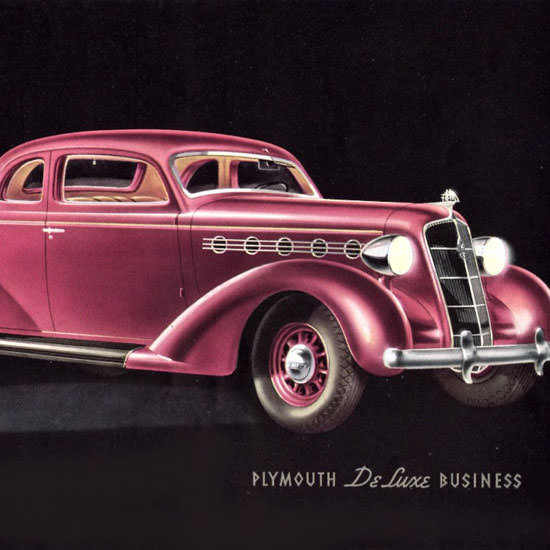 Detail Of Plymouth DeLuxe Business Coupe 1935 | Best of Vintage Ad Art 1891-1970