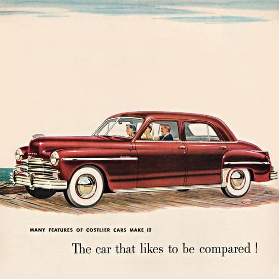 Detail Of Plymouth Special DeLuxe Sedan 1949 | Best of Vintage Ad Art 1891-1970