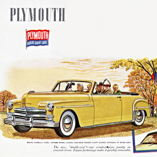 Detail Of Plymouth Station Wagon N Convertible 1949 | Best of Vintage Ad Art 1891-1970