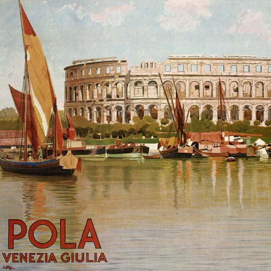 Detail Of Pola Venezia Giulia Italy Italia Colosseum | Best of Vintage Ad Art 1891-1970