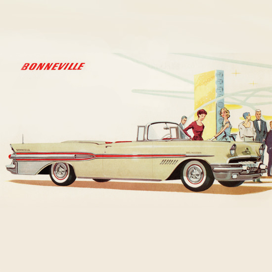 Detail Of Pontiac Bonneville 1957 The Breath Taking B | Best of Vintage Ad Art 1891-1970
