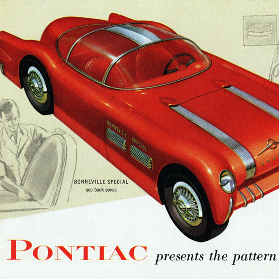 Detail Of Pontiac Bonneville Special 1954 Pattern Tomorrow | Best of Vintage Ad Art 1891-1970