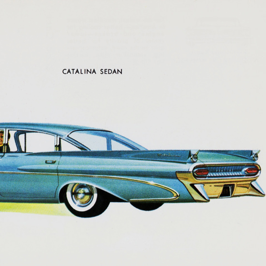 Detail Of Pontiac Catalina Sedan 1959 Blue | Best of Vintage Ad Art 1891-1970