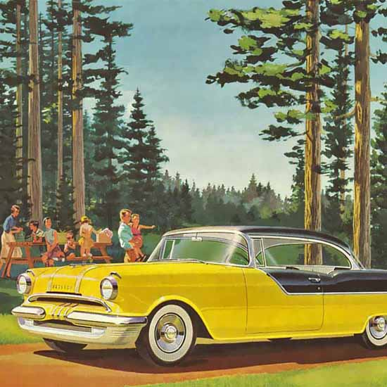 Detail Of Pontiac Catalina V8 1956 Yellow | Best of Vintage Ad Art 1891-1970