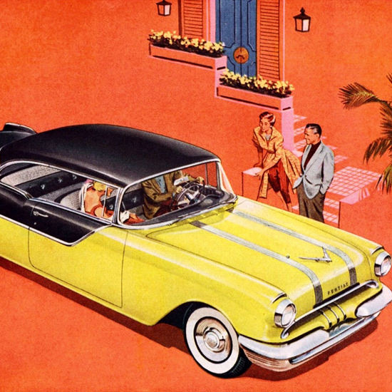 Detail Of Pontiac Chieftain 870 V8 Catalina 1955 | Best of Vintage Ad Art 1891-1970