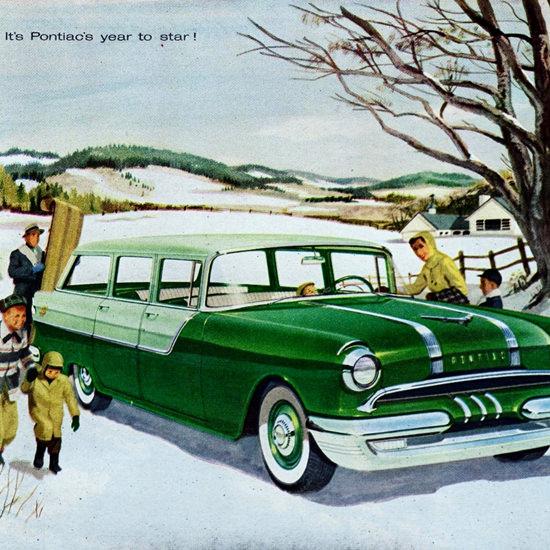 Detail Of Pontiac Chieftain 870 V8 Station Wagon 1955   Best of Vintage Ad Art 1891-1970