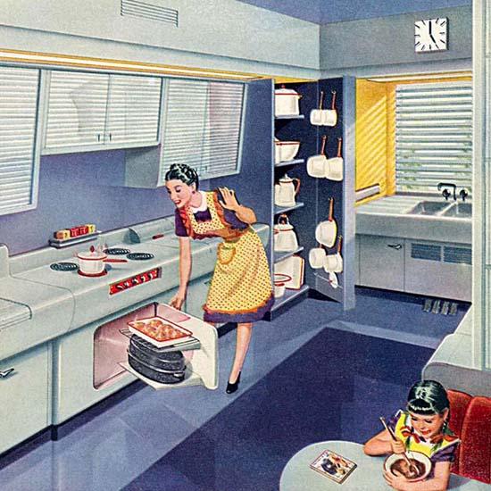 Detail Of Porcelain On Steel Enameled Kitchen | Best of Vintage Ad Art 1891-1970