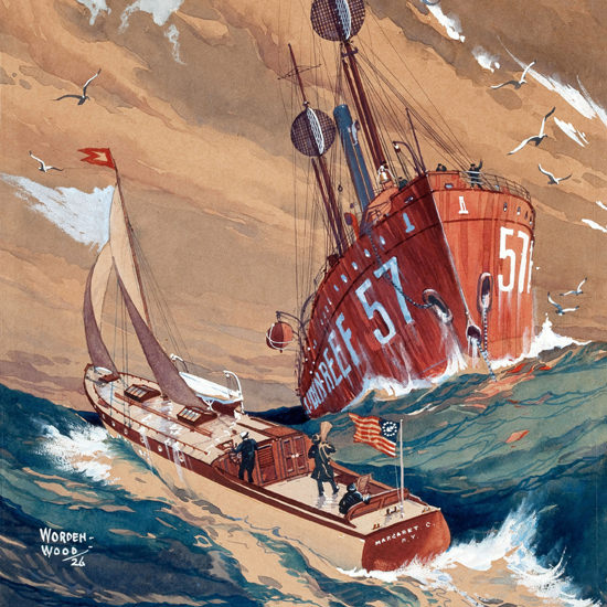 Detail Of Power Boating Cover 1927 Storm On The Sea | Best of 1920s Ad and Cover Art