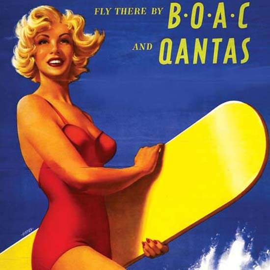 Detail Of Qantas Australia Fly There 1950s   Best of Vintage Ad Art 1891-1970
