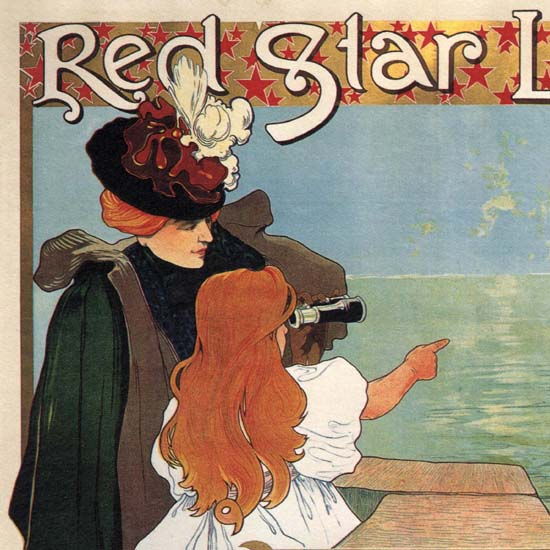Detail Of Red Star Line Belgium Antwerpen New York Girl | Best of Vintage Ad Art 1891-1970