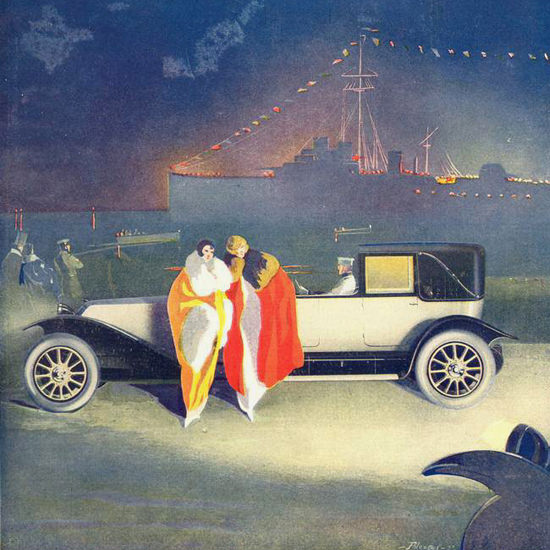 Detail Of Renault 1923 Harbor | Best of 1920s Ad and Cover Art