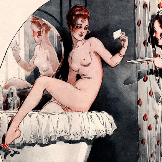 Detail Of Rene Vincent La Vie Parisienne 1917 Suzanne Au Bain page | Best of 1891-1919 Ad and Cover Art
