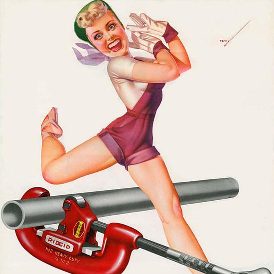 Detail Of Ridgid Calendar April 1953 Pin-Up Girl George Petty | Best of Vintage Ad Art 1891-1970