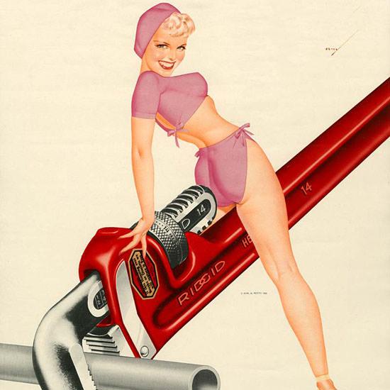 Detail Of Ridgid Calendar June 1952 Pin-Up Girl George Petty   Best of Vintage Ad Art 1891-1970