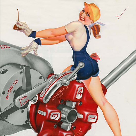 Detail Of Ridgid Calendar October 1953 Pin-Up Girl George Petty   Best of Vintage Ad Art 1891-1970