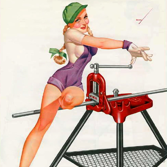 Detail Of Ridgid George Petty Calendar August 1953 | Best of Vintage Ad Art 1891-1970