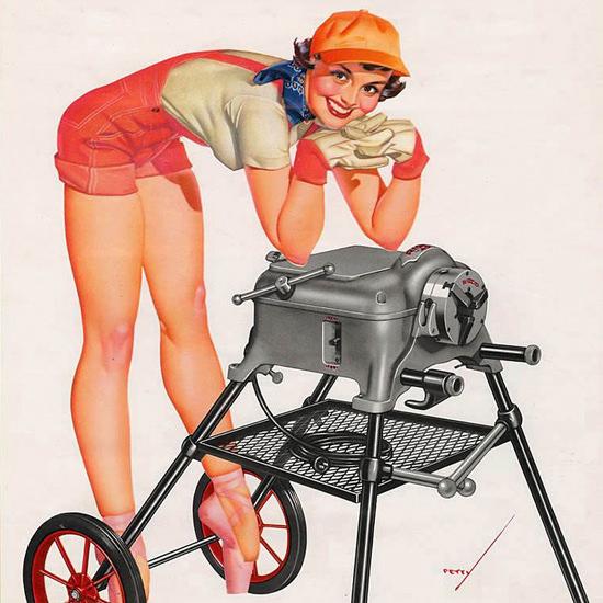 Detail Of Ridgid George Petty Calendar December 1953 | Best of Vintage Ad Art 1891-1970