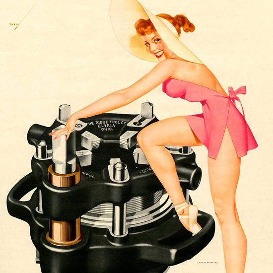 Detail Of Ridgid George Petty Calendar September 1952 | Best of Vintage Ad Art 1891-1970