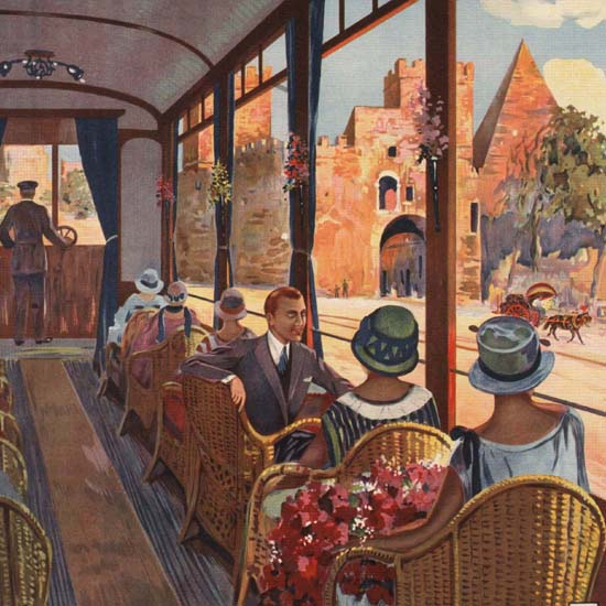 Detail Of Roma Tramvie Del Governatorato Rome Tramway | Best of Vintage Ad Art 1891-1970