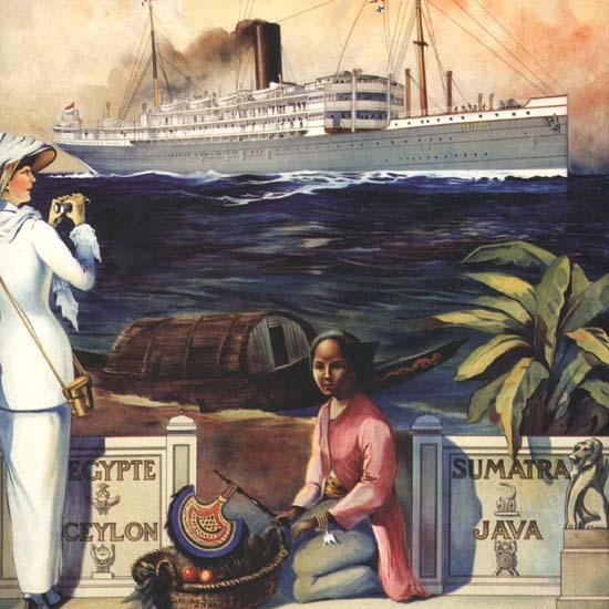 Detail Of Rotterdamsche Lloyd Ceylon Sri Lanca | Best of Vintage Ad Art 1891-1970