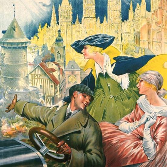 Detail Of Rouen Visitez Ville Musee 1910 | Best of Vintage Ad Art 1891-1970
