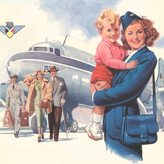 Detail Of Sabena Lignes Aeriennes Belges 1950 Hands | Best of Vintage Ad Art 1891-1970