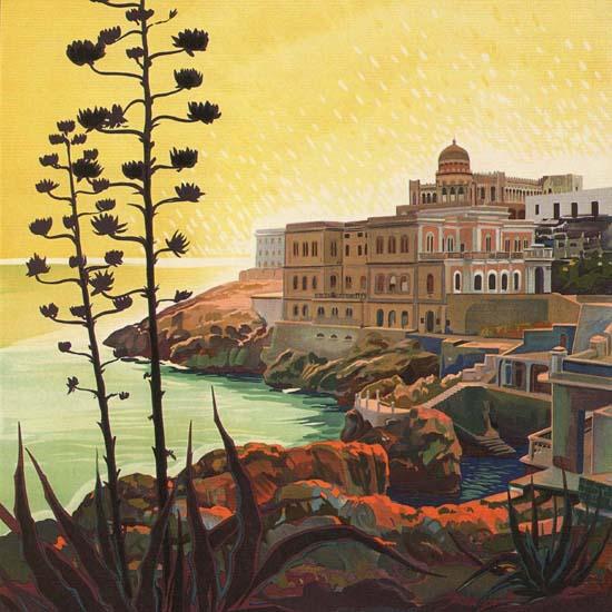 Detail Of Santa Cesarea RR Terme Lecce Italy Italia | Best of Vintage Ad Art 1891-1970