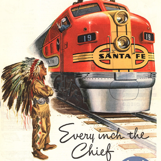 Detail Of Santa Fe Every Inch The Chief 1948 by Dave Mink | Best of Vintage Ad Art 1891-1970