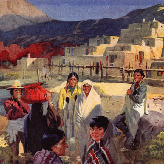 Detail Of Santa Fe Land Of Pueblos 1947 | Best of 1940s Ad and Cover Art