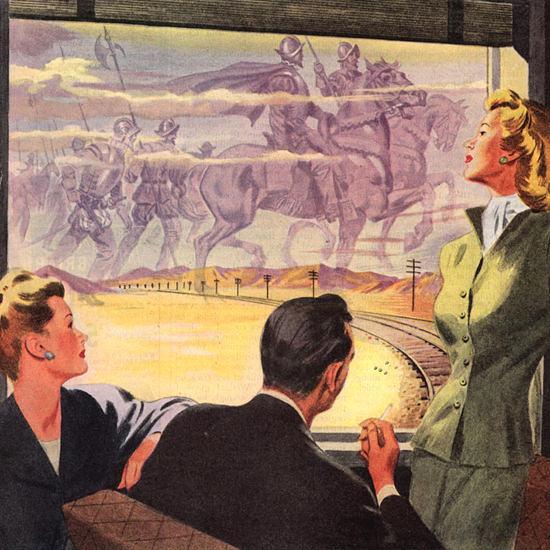 Detail Of Santa Fe Mirage On The Santa Fe 1946 | Best of Vintage Ad Art 1891-1970
