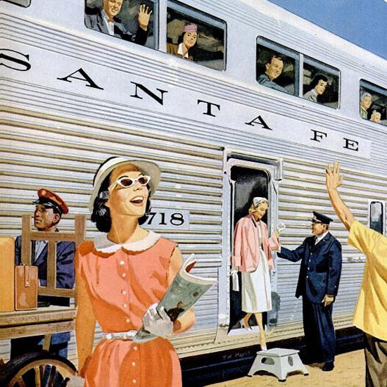 Detail Of Santa Fe New Hi Level El Capitan 1950s L | Best of Vintage Ad Art 1891-1970
