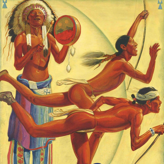 Detail Of Santa Fe Olympic Games Los Angeles 1932 by Hernando Gonzallo Villa | Best of Vintage Ad Art 1891-1970