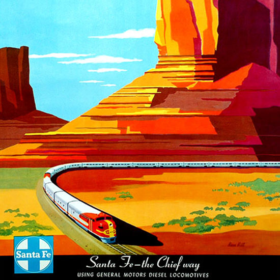 Detail Of Santa Fe The Chief Way 1950s Monument Valley | Best of Vintage Ad Art 1891-1970