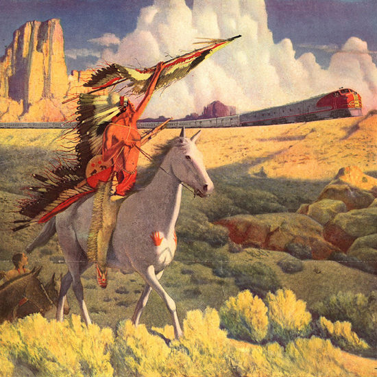 Detail Of Santa Fe The Chiefs 1949 | Best of Vintage Ad Art 1891-1970