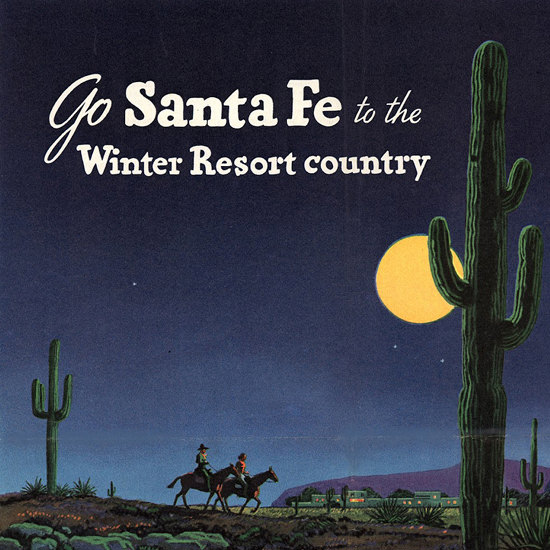 Detail Of Santa Fe To The Winter Resort Country 1948 | Best of Vintage Ad Art 1891-1970