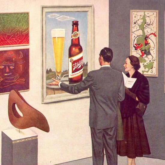 Detail Of Schlitz Beer Modern Art Museum 1952 by John Falter | Best of Vintage Ad Art 1891-1970