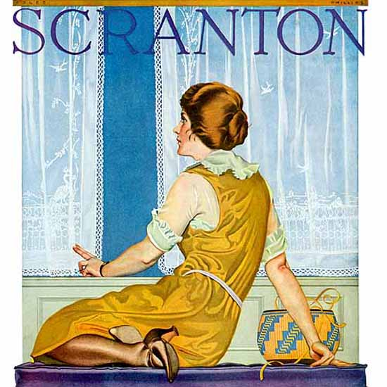 Detail Of Scranton Making Your Own Curtains 1922 Coles Phillips | Best of Vintage Ad Art 1891-1970