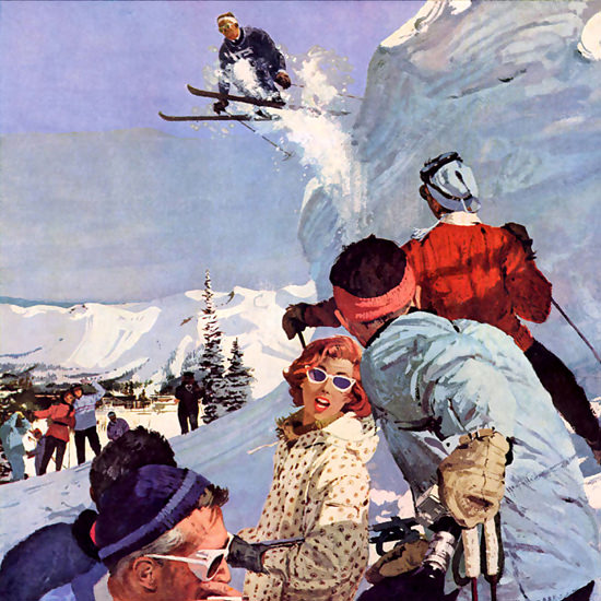 Detail Of Seagams Imported Canadian Whisky Skiing 1959 | Best of Vintage Ad Art 1891-1970